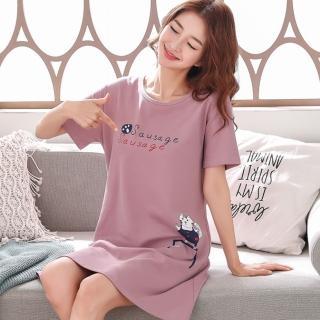 【Secret Lover】腳印與貓咪藕粉色居家服睡衣SL817(女短袖居家服睡衣)
