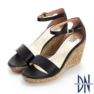 【DN】涼鞋_MIT素色拼接草編造型楔型涼鞋(黑)