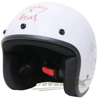 小熊維尼半罩式機車安全帽-白色+抗uv短鏡片+6入安全帽內襯套(速)