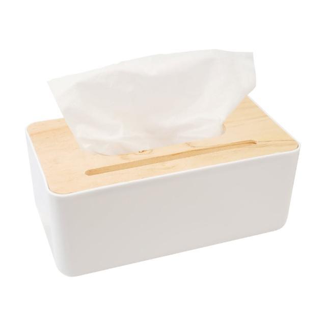 北歐風木質面紙盒-純白/