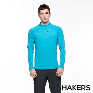 【HAKERS 哈克士】男 抗菌吸濕排汗抗UV半開襟長袖上衣(加勒比海藍)