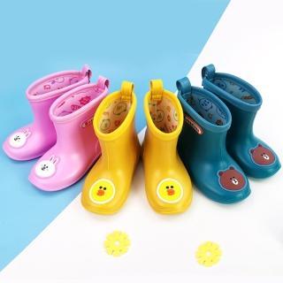 【小花園】繽紛 糖果色 卡通 雨靴 男女童 防水 兒童雨鞋(三色任選)