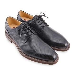 【A.S.O 阿瘦集團】職場通勤 職人通勤刷色壓紋德比鞋(黑)