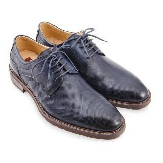 【A.S.O 阿瘦集團】職場通勤 職人通勤刷色壓紋德比鞋(深藍)