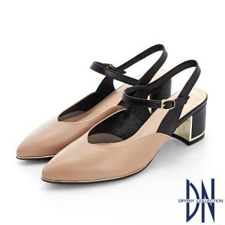 【DN】跟鞋_ MIT雙色拼接牛皮繫帶金屬邊尖頭跟鞋(駝)
