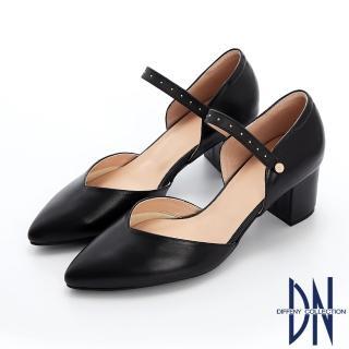 【DN】跟鞋_MIT素面牛皮可拆式鉚釘繫帶尖頭跟鞋(黑)