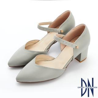 【DN】跟鞋_MIT素面牛皮可拆式鉚釘繫帶尖頭跟鞋(灰)