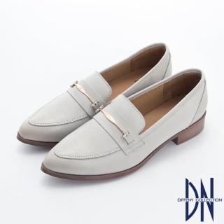 【DN】樂福鞋_MIT素面金屬扣飾牛皮尖頭樂福跟鞋(灰)
