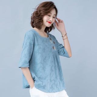 【A3】春夏必備款-寬鬆棉麻復古風舒適上衣(透氣亞麻材質)
