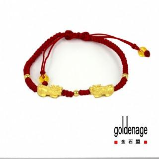 【金石盟】黃金雙猈貅金珠手鍊0.35錢±0.02錢(9999純金製造)
