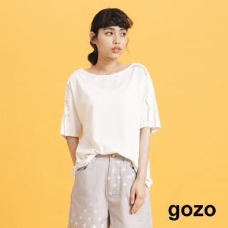 【gozo】gozo-圓點扣子裝飾袖上衣(三色)