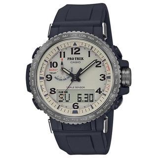 【CASIO 卡西歐】PRO TREK太陽能電波手錶(黑/ 米色 PRW-50Y-1B)