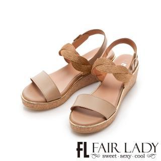 【FAIR LADY】Early Summer 光澤感波浪編織一字楔型涼鞋(棕、202262)