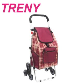 【TRENY】鋁合金購物車 - 紅格(菜籃車 手推車 9316-6)