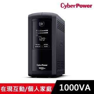 【CyberPower】1000VA在線互動式不斷電系統(CP1000AVRLCDA) 含群加 2P+3P 4開8插2埠USB防雷擊抗搖擺延長線