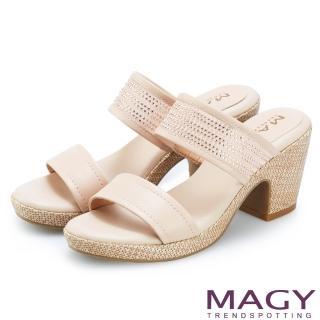 【MAGY】牛皮拼接網布水鑽編織粗跟拖鞋(裸色)