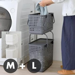 【like-it】(窄款)隙縫型多功能可堆疊含蓋收納籃 洗衣籃(二層組)