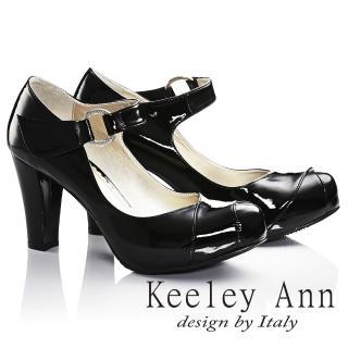【Keeley Ann】輕熟名媛 MIT極簡魔鬼氈腳背帶瑪莉珍鞋(黑色035093110)