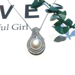 【I JEWELRY】頂級手工純銀訂製系列 璀璨貴氣流線造型鑲鋯石珍珠純銀項鍊(附純銀保證卡 精美禮物包裝)