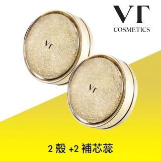 【VT COSMETICS】黃金膠原蛋白氣墊粉凝霜 2空殼+2補蕊(原廠公司貨 遮瑕 保濕 美白 淡皺 服貼 膠原蛋白)
