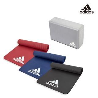 【adidas】三色輕量防滑彈性運動墊_7mm+瑜珈磚(熱銷組合)