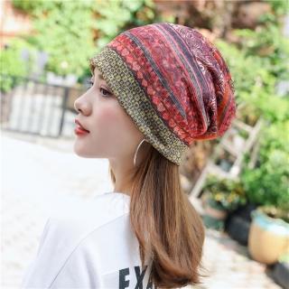 【89 zone】法式優雅透氣棉紗薄款套頭防風/頭巾帽(桔)