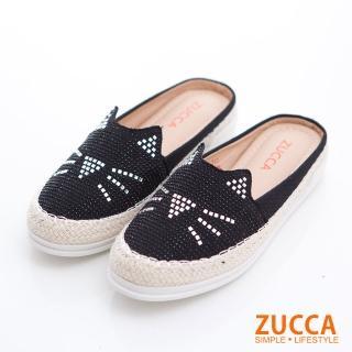 【ZUCCA&bellwink】碎鑽貓咪印平底拖鞋z6803bk-黑色