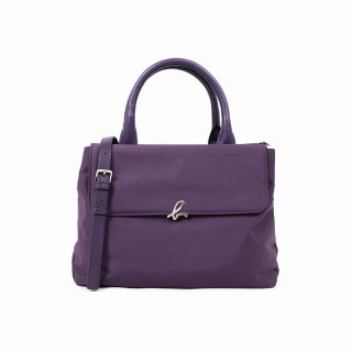 【agnes b.】Voyage 經典 b logo尼龍手提/肩背兩用包(紫)