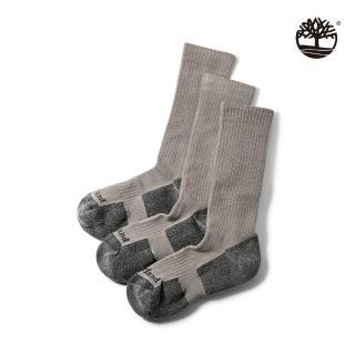 【Timberland】男款淺灰色比狄福德羅紋針織半緩衝長襪(A1F1MC81)