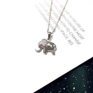 【DoriAN】手作純銀 平安招財納福大象造型鑲鋯石純銀項鍊(附精美包裝組合及附純銀保證卡)
