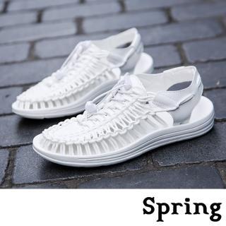 【SPRING】時尚縷空復古彈力繩編織造型休閒涼鞋(白)