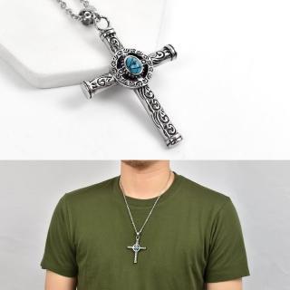 【men life】十字架項鍊 鋼製圖騰刻紋綠珠(鋼鍊)