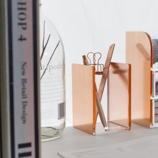 【目喜生活】玫瑰金 桌上收納刷具筆刷筒(適用辦公室和化妝台收納)
