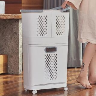 【ONE HOUSE】韓式帶輪三層分類髒衣籃