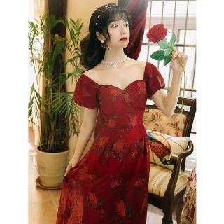 【Sexy Devil】復古紅桃心領刺繡高腰長洋裝禮服S-L