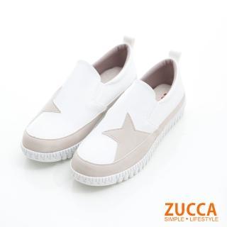 【ZUCCA&bellwink】雙色拼貼星星平底鞋z6820we-白色