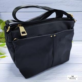 【Misstery】手提包休閒旅遊肩背包-黑(台灣防潑水面料)