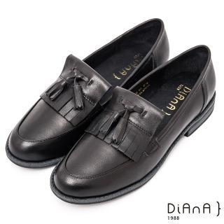 【DIANA】雙色質感牛皮流蘇低跟休閒樂福鞋 -經典學院風(黑)