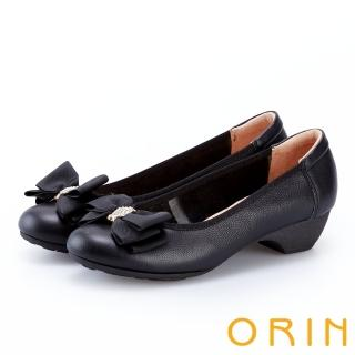 【ORIN】鑽飾蝴蝶結牛皮粗低跟鞋(黑色)
