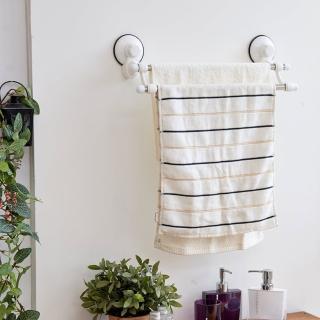 【ikloo 宜酷屋】TACO無痕吸盤系列-不鏽鋼雙桿毛巾架