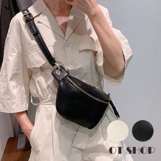 【OT SHOP】側肩背 斜肩背 斜跨 腰包 胸包  H2019(純色質感皮革 鍊帶 造型拉鍊頭  復古文青)