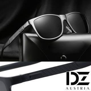 【DZ】UV400防曬偏光太陽眼鏡墨鏡-摩根鋁鎂框(黑框灰片)