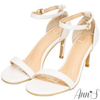 【Ann'S】不踩雷美腿製造機一字帶涼鞋-細帶8公分高跟(白)