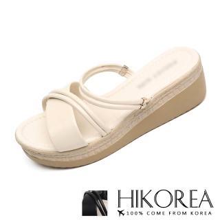 【HIKOREA】韓國空運來台/偏小版型。立體造型線條激瘦拖鞋楔型鞋(7-3117/2色/現貨)