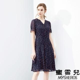 【mysheros 蜜雪兒】V領雪紡腰身花洋裝(藍)