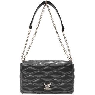 【Louis Vuitton 路易威登】M50298 GO-14 MM小羊皮菱格銀鍊MM肩背/斜背包(黑色-絕版品)