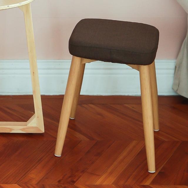 【MAMORU】復古風布藝方型木紋椅凳(化妝椅/餐椅/靠腳凳/換鞋椅/置腳凳)