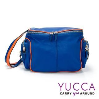 【YUCCA】運動休閒風撞色多口袋旅行側背方包/相機包-藍色(D003646)