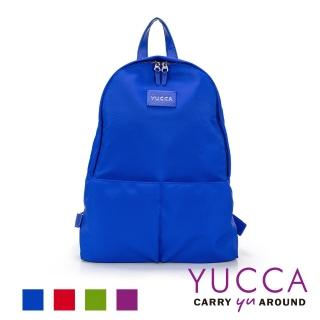 【YUCCA】個性螢光色防潑水尼龍後背包-藍色(D012373)