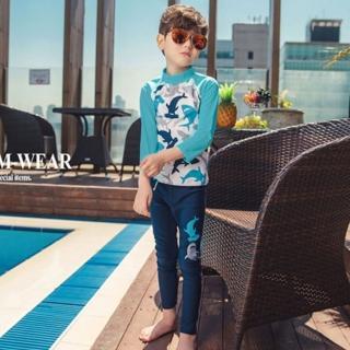 【橘魔法】鯊魚滿印插肩防曬 長袖泳裝+長褲(二件式 防曬泳衣 水母衣 男童 兒童 水母褲 防曬 泳衣)